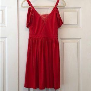 Orange lace back cold shoulder mini dress